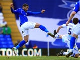 Birmingham midfielder Hayden Mullins scores against Leeds on April 20, 2013