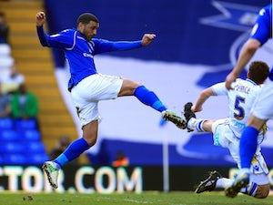 Birmingham midfielder Hayden Mullins scores against Leeds on April 20, 2013