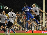 John Terry heads in his team's second goal against Fulham on April 17, 2013