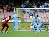 Cagliari forward Victor Ibarbo scores against Napoli during the Serie A match on April 21, 2013