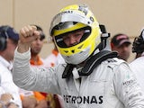 Mercedes' Nico Rosberg celebrates qualifying in pole position for the Bahrain GP on April 20, 2013