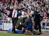 Sunderland boss Paulo Di Canio celebrates a goal by Stephane Sessegnon against Everton on April 20, 2013
