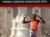 Kenya's Priscah Jeptoo crosses the finish line as she wins the Women's Elite race during the Virgin London Marathon on April 21, 2013