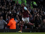 Ricardo Vaz Te celebrates moments after scoring the opening goal against Manchester United on April 17, 2013