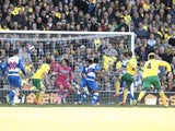 Norwich's Ryan Bennett scores the opener against Reading on April 20, 2013