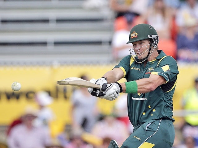 Australia's Shane Watson in action against West Indies on February 6, 2013