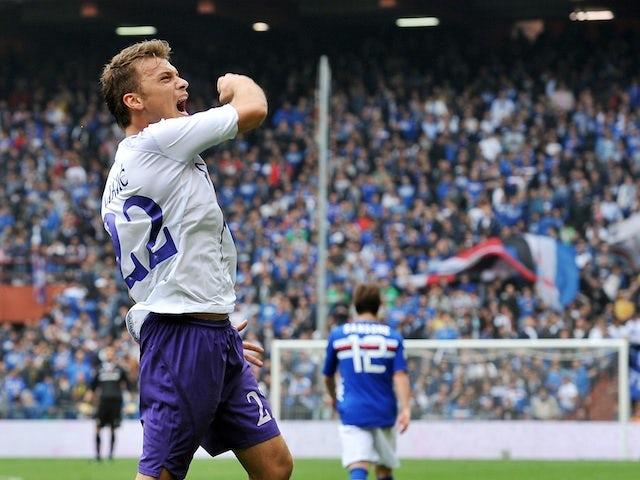 Fiorentina's Adem Ljajic celebrates a goal against Sampdoria on April 28, 2013