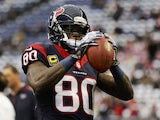 Houston Texans wide receiver Andre Johnson warms up before the match against the Cincinnati Bengals on January 5, 2013