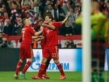 Bayern's Mario Gomez celebrates scoring against FC Barcelona on April 23, 2013