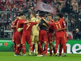 Bayern players celebrate victory in the first leg of their Champions League semi final against FC Barcelona on April 23, 2013