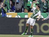 Portland Timbers midfielder Diego Valeri celebrates scoring against the New York Red Bulls on March 3, 2013