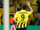 Borussia Dortmund's Robert Lewandowski celebrates scoring his fourth goal in the Champions League semi final against Real Madrid on April 24, 2013