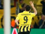 Borussia Dortmund's Robert Lewandowski celebrates scoring his fourth goal in the Champions League semi final against Real Madrid on April 24, 2013