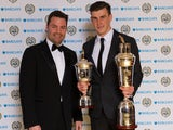 Spurs' Gareth Bale holds his PFA Player of the year and Young player of the year awards on April 28, 2013