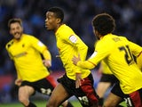 Watford's Nathaniel Chalobah celebrates scoring against Leicester in the Championship match on April 26, 2013