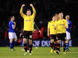 Watford players celebrate after winning their match with Leicester on April 26, 2013