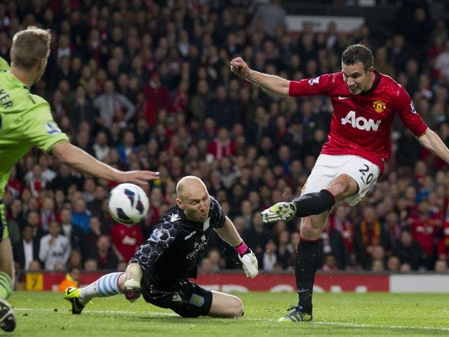 Manchester United's Robin van Persie scores his third goal against Aston Villa on April 22, 2013