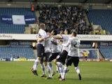 Blackburn Rovers' David Jones celebrates with teammates after scoring against Millwall on April 23, 2013