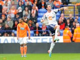 Bolton Wanderers Chris Eagles celebrates scoring against Blackpool in the Championship clash on May 4, 2013