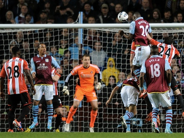 Villa striker Christian Benteke scores against Sunderland on April 29, 2013