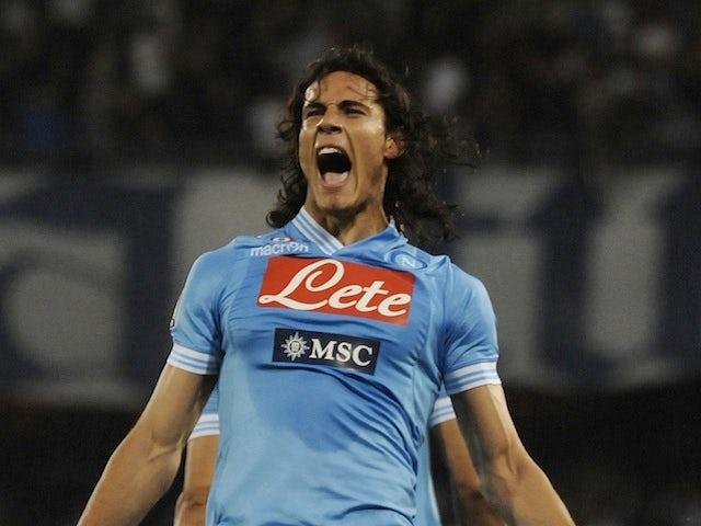 Napoli's Edinson Cavani celebrates a goal against Inter May 5, 2013