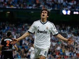 Real's Kaka celebrates after scoring his team's third against Real Valladolid on May 4, 2013