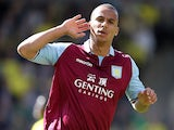Aston Villa's Gabriel Agbonlahor celebrates after scoring against Norwich on May 4, 2013