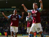 Aston Villa players celebrate after defeating Norwich in the Premier League on May 4, 2013