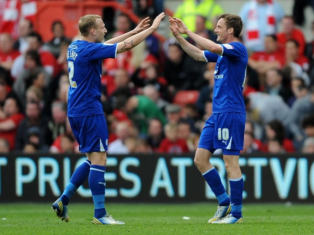 Leicester City's Andy King celebrates scoring against Nottingham Forest on May 4, 2013