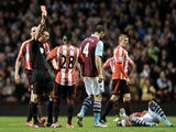Sunderland's Stephane Sessegnon is shown a red card against Aston Villa on April 29, 2013