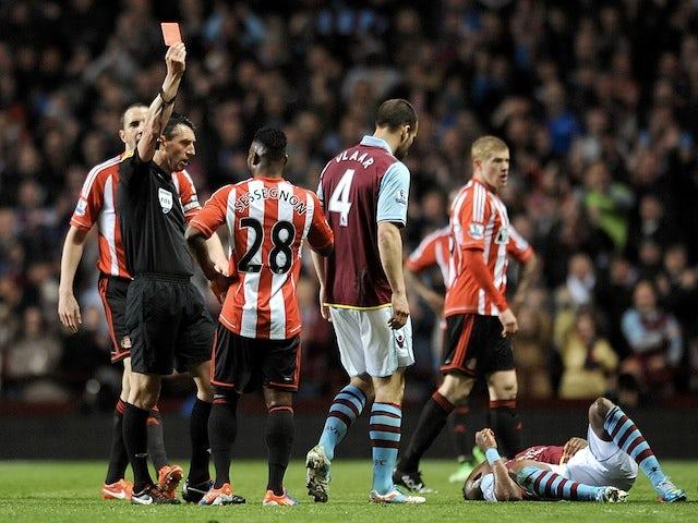 Sunderland's Stephane Sessegnon is shown a red card against Aston Villa on April 29, 2013