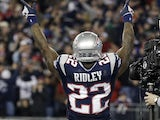 Pats' Stevan Ridley celebrates a touchdown against Houston on January 13, 2013