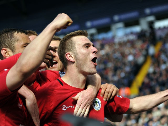 Wigan Athletic's Callum McManaman celebrates scoring against West Brom on May 4, 2013