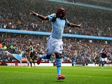 Aston Villa's Christian Benteke celebrates scoring against Chelsea on May 11, 2013