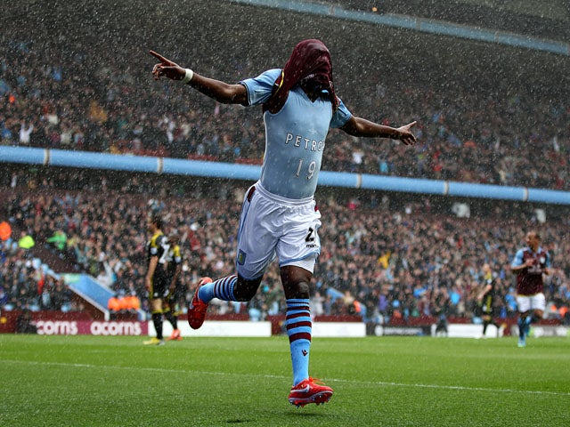 Aston Villa's Christian Benteke celebrates scoring against Chelsea on May 11, 2013