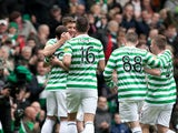 Celtic players celebrate the second goal during the Clydesdale Bank Premier League match with St Johnstone on May 11, 2013
