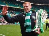 Celtic manager Neil Lennon with the SPL trophy on May 11, 2013