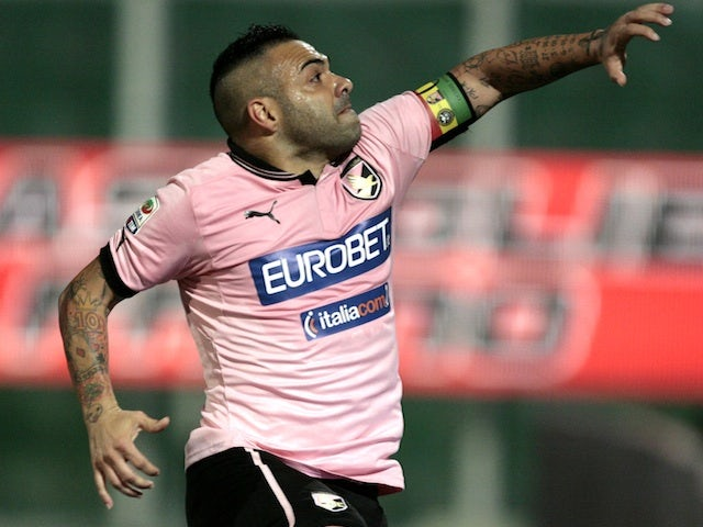 Palermo's Fabrizio Miccoli celebrates a goal against Udinese on May 8, 2013