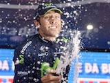 Britain's Alex Dowsett celebrates after winning the eight stage of the Giro d'Italia on May 11, 2013