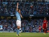 Manchester City's Edin Dzeko celebrates scoring against West Bromwich Albion on May 7, 2013