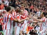 Stoke City's Steven Nzonzi is congratulated after scoring against Tottenham on May 12, 2013