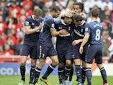 Tottenham Hotspur's Clint Dempsey celebrates scoring against Stoke during the Premier League clash on May 12, 2013