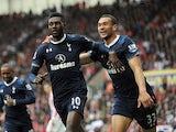 Tottenham Hotspur's Emmanuel Adebayor celebrates scoring against Stoke on May 12, 2013
