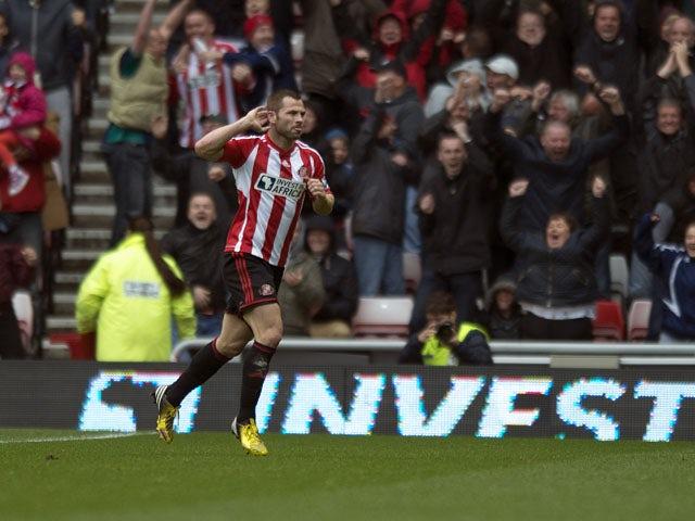 Sunderland's Phil Bardsley celebrates scoring against Southampton on May 12, 2013