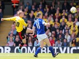 Watford's Matej Vydra scores against Leicester City during the Championship Play Off match on May 12, 2013