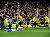 Watford's Troy Deeney celebrates scoring the winning goal during the Championship Play Off match against Leicester on May 12, 2013