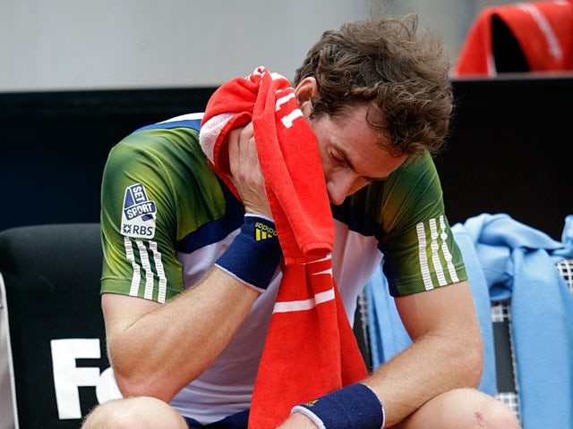 Andy Murray sits out during the match against Marcel Granollers during the Rome Masters on May 15, 2013