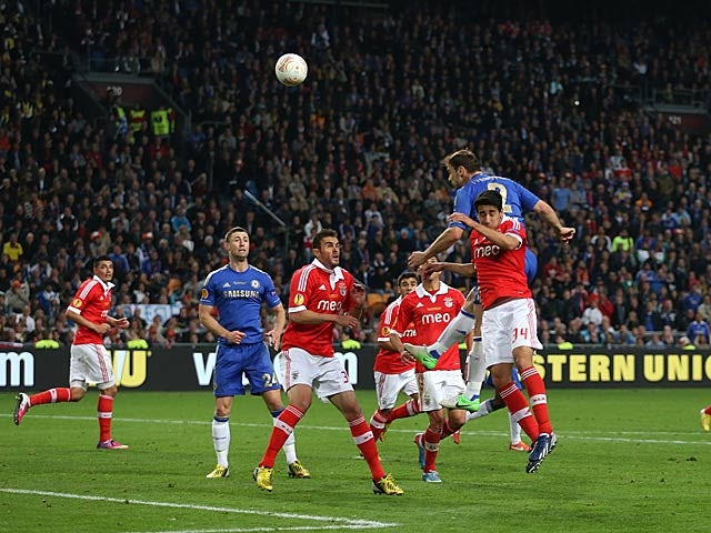 Chelsea's Branislav Ivanovic heads in the winning goal against Benfica on May 15, 2013