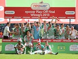 Yeovil Town players celebrate winning League One Play Off Final on May 19, 2013