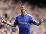 Chelsea's Fernando Torres celebrates scoring against Everton on May 19, 2013